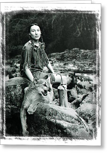 Native American Nude Woman Greeting Cards - Trusted Spirits Greeting Card by Ken Evans
