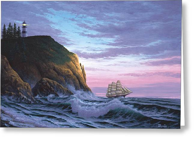Tall Ships Paintings Greeting Cards - Trusting the Light Greeting Card by Del Malonee