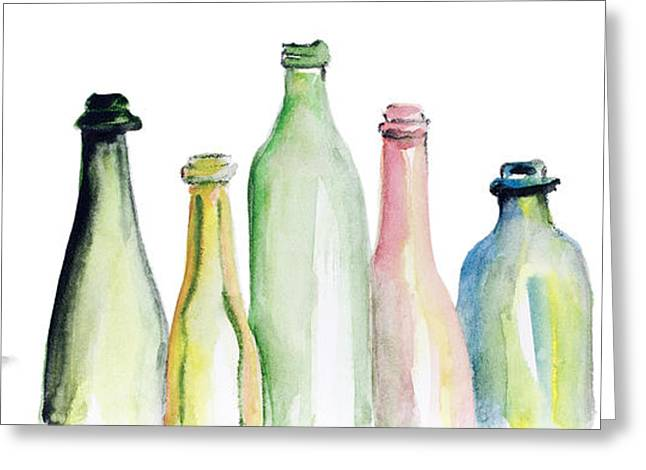 Glass Bottle Greeting Cards - Truth in Wine and Juice Greeting Card by Irina Gromovaja