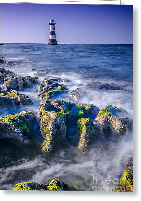Trwyn Du Lighthouse Greeting Card by Darren Wilkes