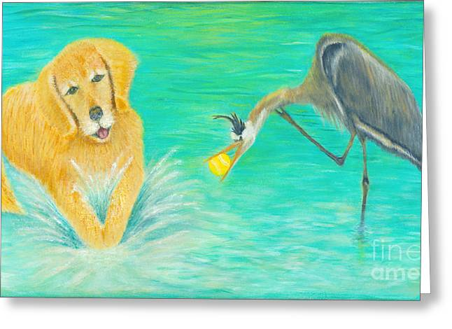 Golden Retriever Playing Ball Greeting Cards - Try Again Greeting Card by Robin Grace