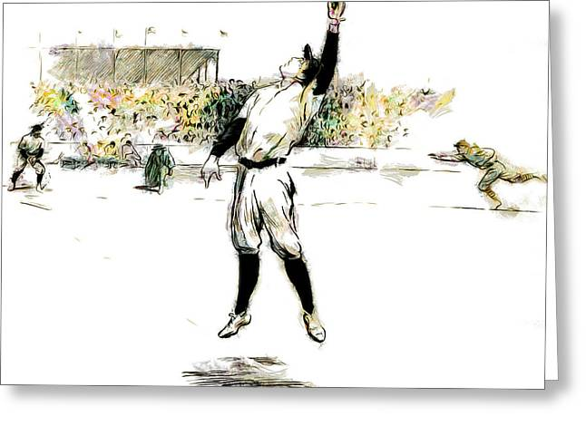 Baseball Glove Greeting Cards - Trying For the Catch Greeting Card by Steve Taylor