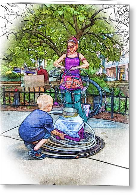 Hoops Mixed Media Greeting Cards - Trying the Hula Hoop Greeting Card by John Haldane