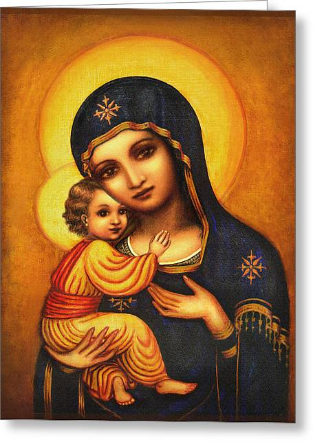 Byzantine Mixed Media Greeting Cards - Tryptichon Madonna Greeting Card by Ananda Vdovic