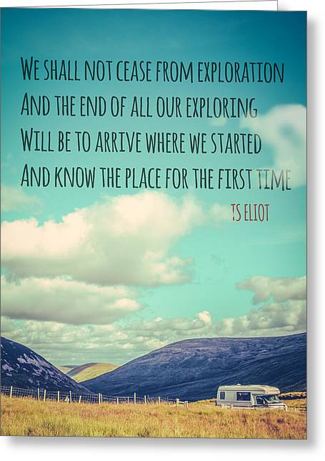 Ts Eliot Travel Quote Poster Greeting Card by Mr Doomits