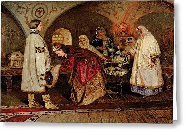 Lady In Waiting Greeting Cards - Tsar Alexei Mikhailovich 1629-76 Meeting His Bride, Maria Miloslavasky, 1887 Oil On Canvas Greeting Card by Mikhail Vasilievich Nesterov