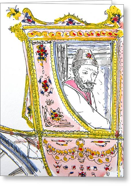 Canadian Photographer Drawings Greeting Cards - Tsar in Carriage Greeting Card by Marwan George Khoury