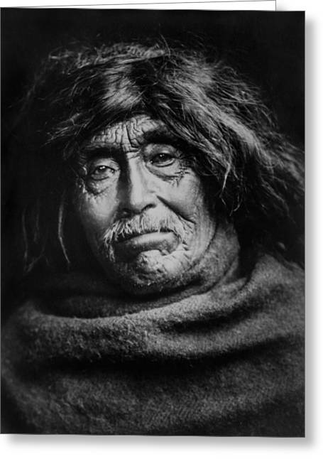 Blanket Photographs Greeting Cards - Tsawatenok Indian Man circa 1914 Greeting Card by Aged Pixel