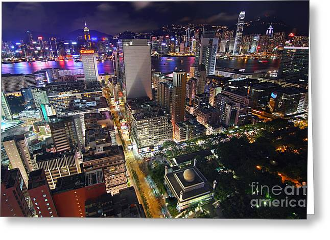 Convention Center Greeting Cards - Tsim Sha Tsui in Hong Kong Greeting Card by Lars Ruecker