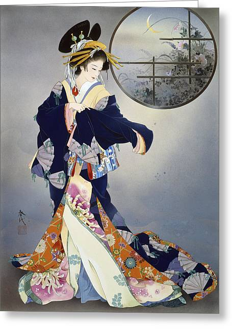 Evening Dress Digital Art Greeting Cards - Tsukiakari Greeting Card by Haruyo Morita