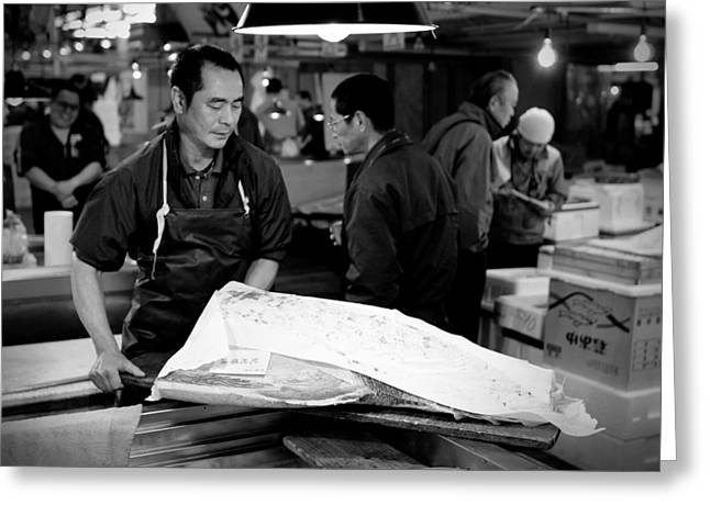 Fish Market Greeting Cards - Tsukiji Tokyo Fish Market Greeting Card by Sebastian Musial