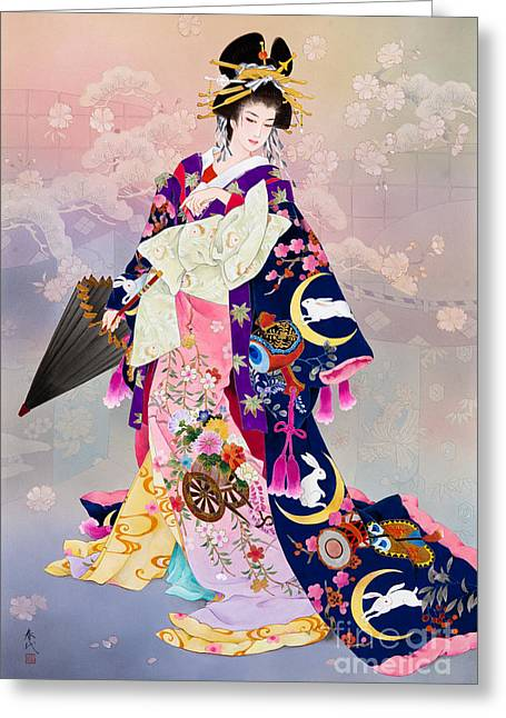 Art Print Digital Art Greeting Cards - Tsukiuagi Greeting Card by Haruyo Morita