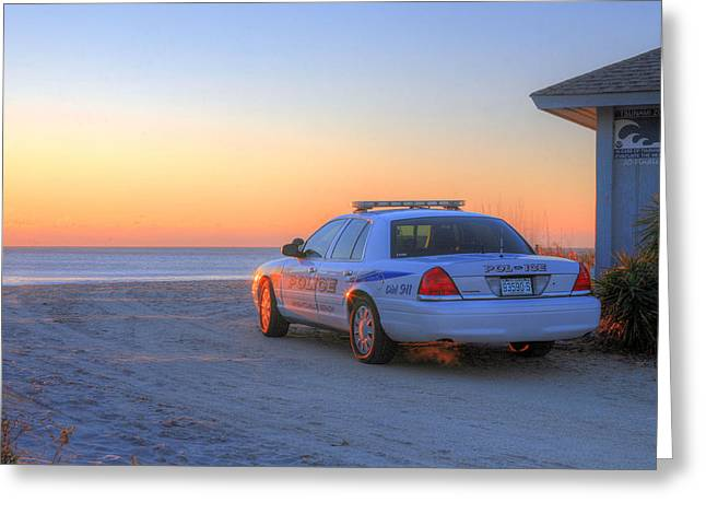 Police Car Greeting Cards - Tsunami Watch Greeting Card by JC Findley