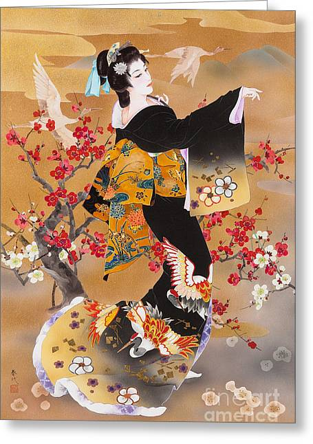 Art Print Digital Art Greeting Cards - Tsuru Kame Greeting Card by Haruyo Morita