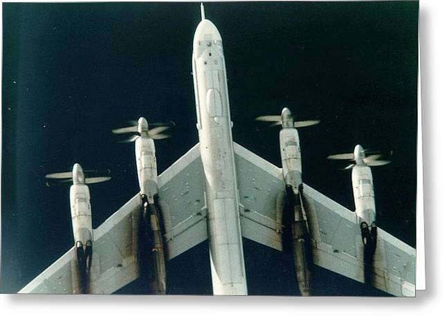 President Of America Mixed Media Greeting Cards - Tu-95 Soviet Bomber Upsized Alot Greeting Card by L Brown