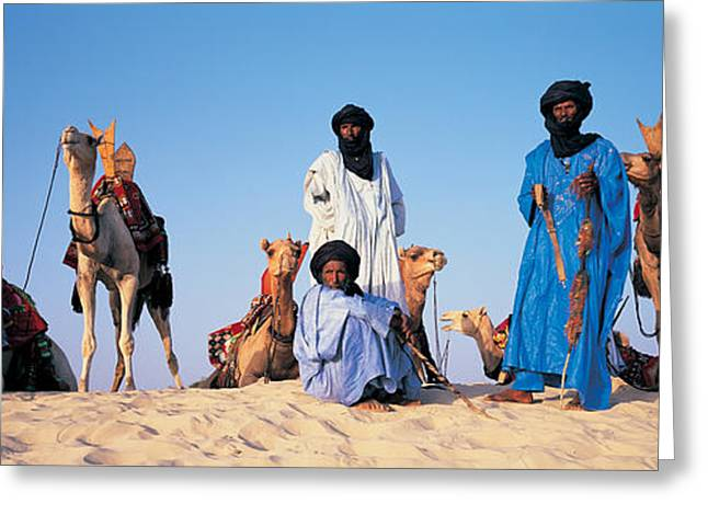 Four People Greeting Cards - Tuareg Camel Riders, Mali, Africa Greeting Card by Panoramic Images