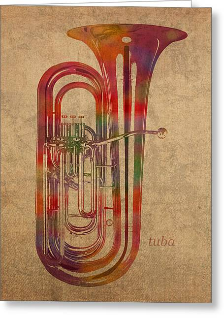 Tuba Greeting Cards - Tuba Brass Instrument Watercolor Portrait on Worn Canvas Greeting Card by Design Turnpike