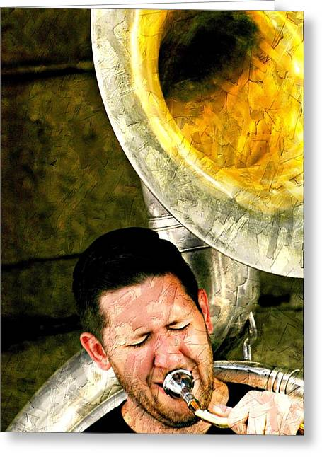 Playing Musical Instruments Greeting Cards - Tuba Greeting Card by Diana Angstadt