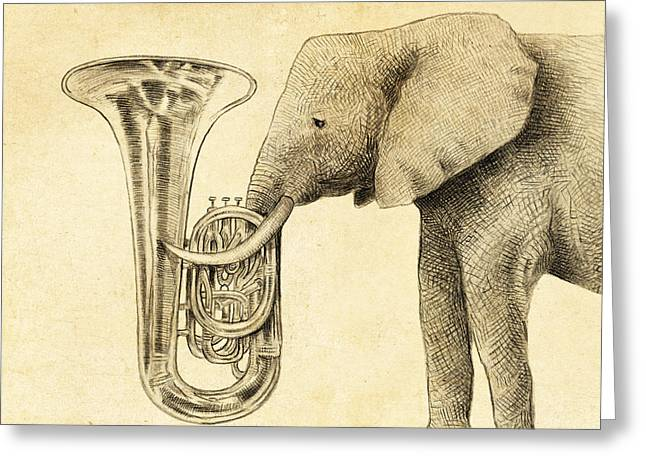 Tuba Greeting Card by Eric Fan