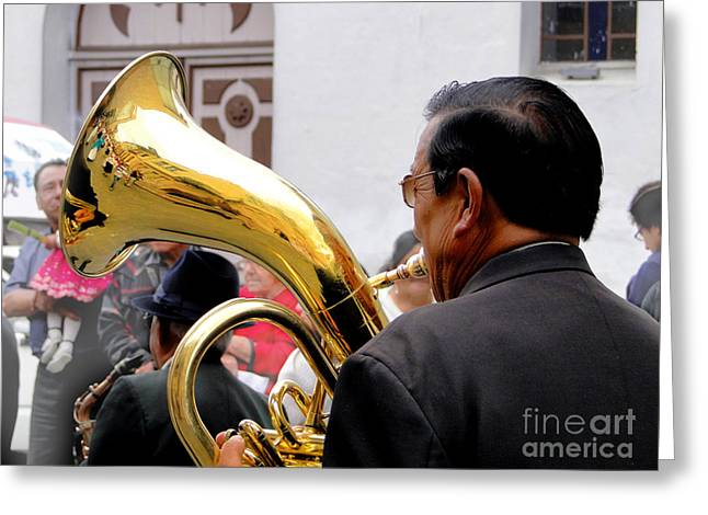 Christmas Eve Greeting Cards - Tuba On Parade In Cuenca Greeting Card by Al Bourassa