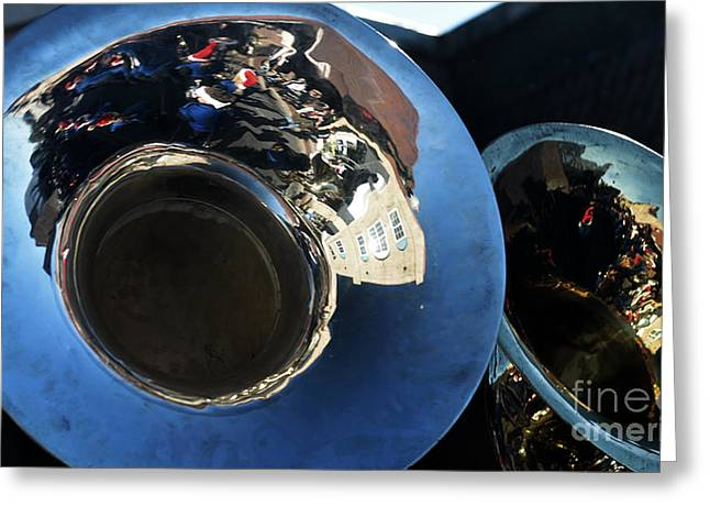 Marching Band Greeting Cards - Tuba Parade Reflections Greeting Card by JW Hanley