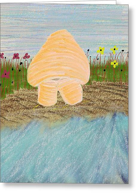 Oddball Greeting Cards - Tuber Shroomington at the Beach Greeting Card by Josie Boyce