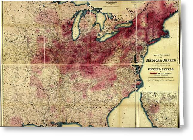 Tuberculosis In The Usa Greeting Card by Library Of Congress, Geography And Map Division