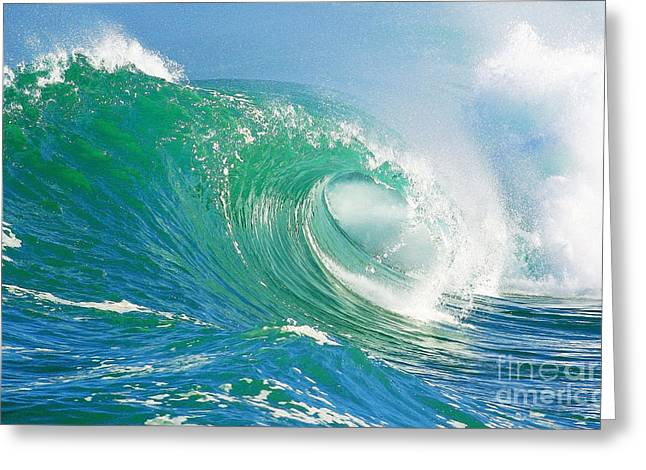 Shorebreak Greeting Cards - Tubing Wave Greeting Card by Paul Topp