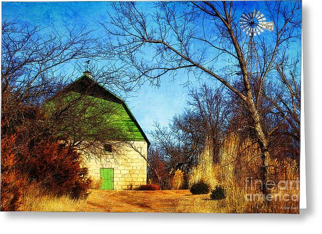 Outbuildings Digital Art Greeting Cards - Tucked Away Green Barn Greeting Card by Anna Surface