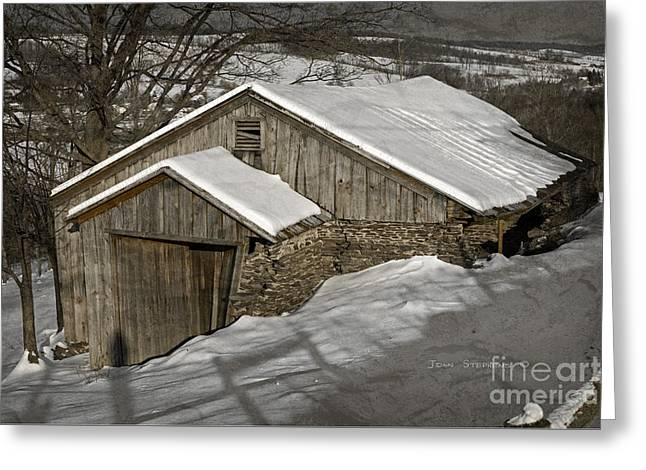 Red Roofed Barn Greeting Cards - Tucked In Greeting Card by John Stephens