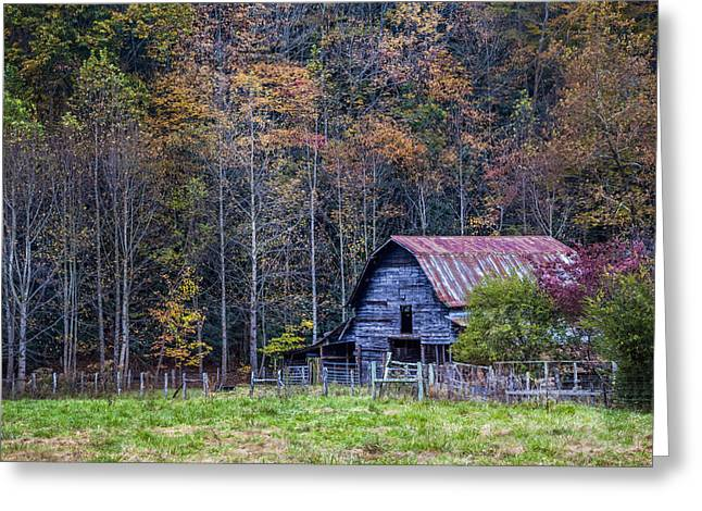 Red Roofed Barn Greeting Cards - Tucked into Fall Greeting Card by Debra and Dave Vanderlaan