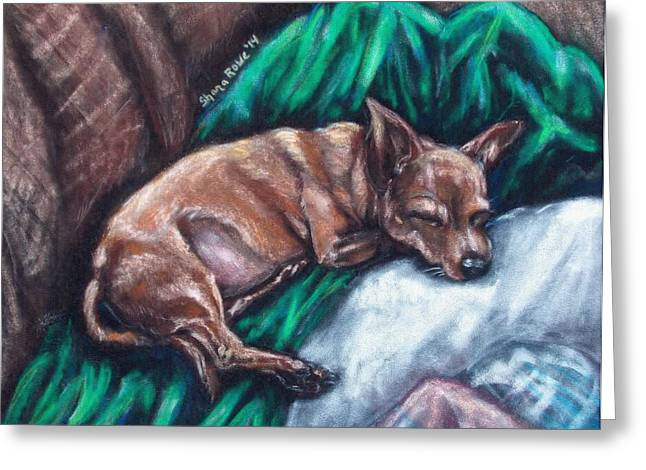 Doggy Pastels Greeting Cards - Tuckered Greeting Card by Shana Rowe