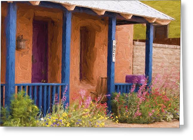 Striking Greeting Cards - Tucson 821 Barrio Painterly Effect Greeting Card by Carol Leigh