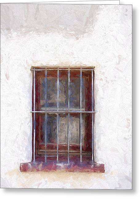 Detail Mixed Media Greeting Cards - Tucson Barrio Window Painterly Effect Greeting Card by Carol Leigh