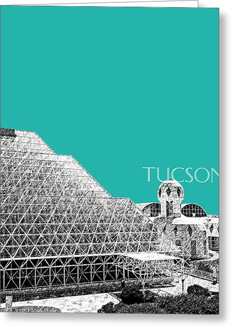 Arizona Posters Greeting Cards - Tucson Biosphere 2 - Teal Greeting Card by DB Artist