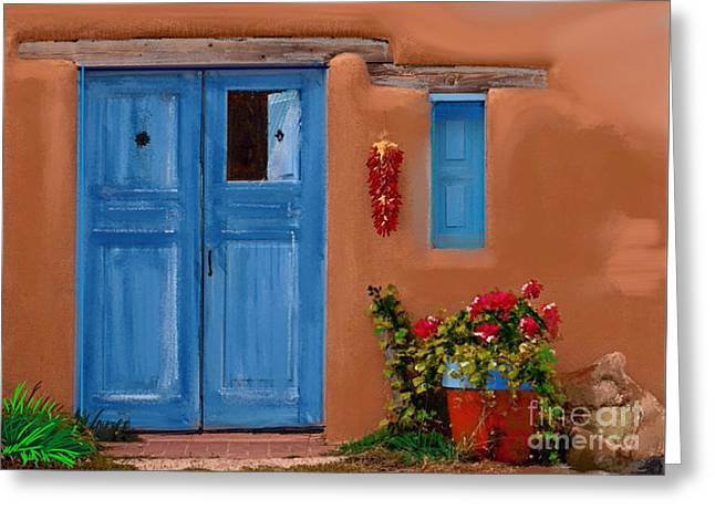 Adobe Mixed Media Greeting Cards - Tucson Door Greeting Card by Craig Nelson