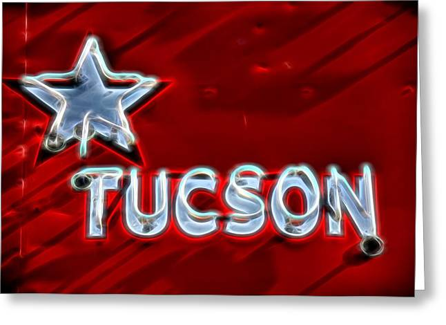 Sixties Style Automobile Greeting Cards - Tucson Neon Greeting Card by Henry Kowalski