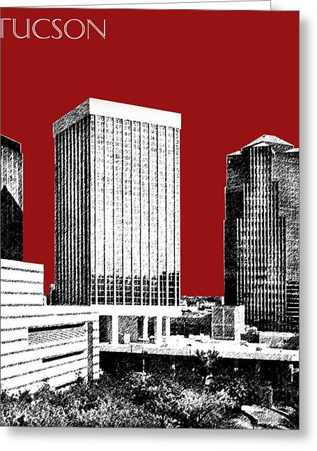 Arizona Posters Greeting Cards - Tucson Skyline 1 - Dark Red Greeting Card by DB Artist