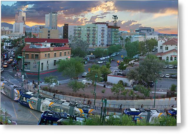 Theater Greeting Cards - Tucson Streetcar Sunset Greeting Card by Stephen Farley