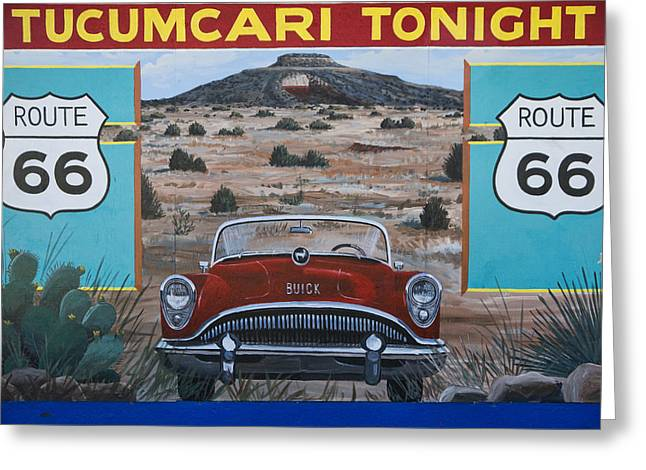 Rt. Greeting Cards - Tucumcari Tonight Mural on Route 66 Greeting Card by Carol Leigh