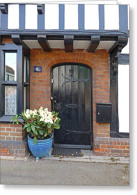 Entryway Greeting Cards - Tudor Cottage Doorway Greeting Card by Gill Billington