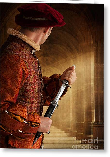 Cap Sleeves Greeting Cards - Tudor Man Drawing A Dagger Greeting Card by Lee Avison
