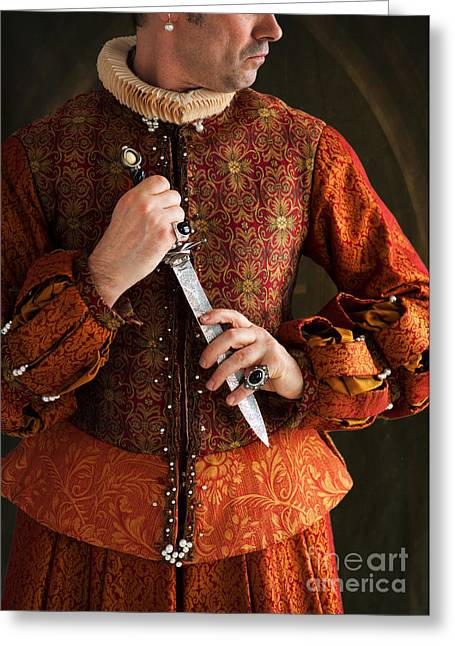 Gold Earrings Greeting Cards - Tudor Man Holding A Dagger Greeting Card by Lee Avison
