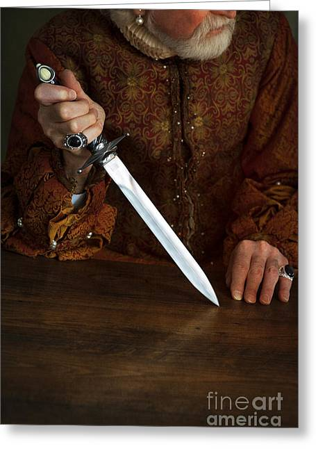 Gold Earrings Greeting Cards - Tudor Man Holding A Medieval Dagger Greeting Card by Lee Avison