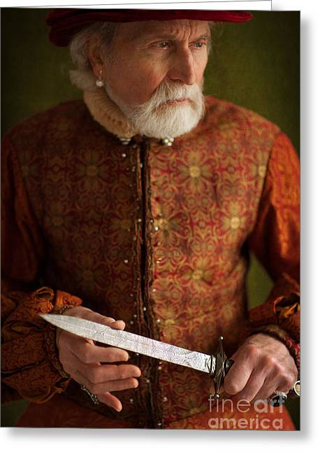 Gold Earrings Greeting Cards - Tudor Man With A Dagger Greeting Card by Lee Avison