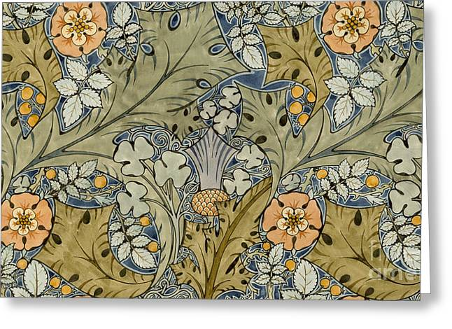 Blue Thistles Greeting Cards - Tudor roses thistles and shamrock Greeting Card by Voysey