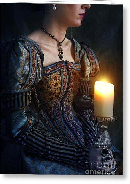 Puffed Sleeves Greeting Cards - Tudor Woman Holding A Candle Greeting Card by Lee Avison