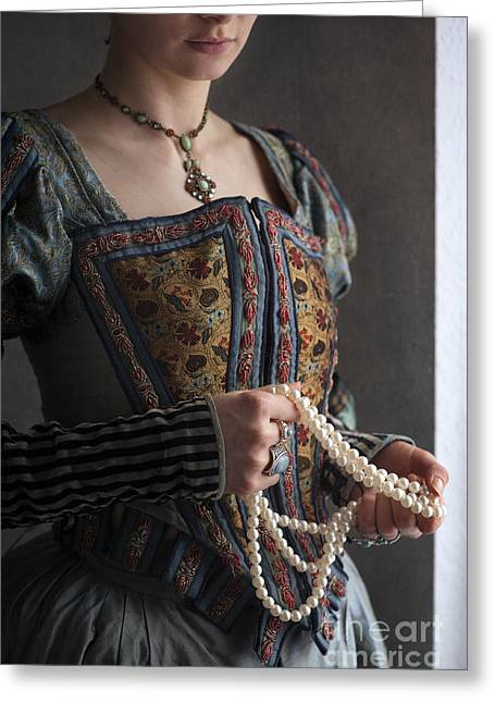 Puffed Sleeves Greeting Cards - Tudor Woman Holding A String Of Pearls Greeting Card by Lee Avison