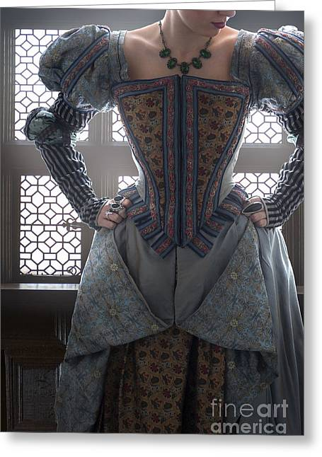 Puffed Sleeves Greeting Cards - Tudor Woman Standing In Front Of A Leaded Window  Greeting Card by Lee Avison
