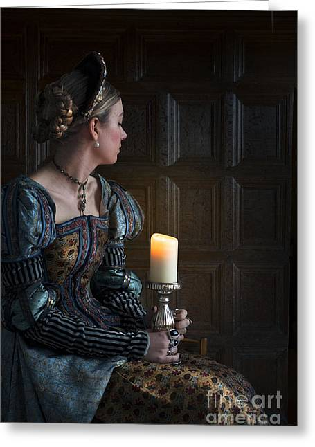 Puffed Sleeves Greeting Cards - Tudor Woman With A Candle Greeting Card by Lee Avison